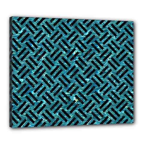 Woven2 Black Marble & Blue Green Water (r) Canvas 24  X 20  (stretched) by trendistuff