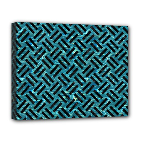 Woven2 Black Marble & Blue Green Water (r) Deluxe Canvas 20  X 16  (stretched) by trendistuff