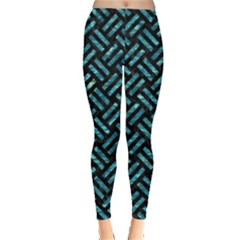 Woven2 Black Marble & Blue Green Water Leggings  by trendistuff