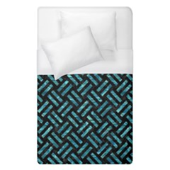 Woven2 Black Marble & Blue Green Water Duvet Cover (single Size) by trendistuff