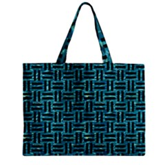 Woven1 Black Marble & Blue Green Water (r) Zipper Mini Tote Bag by trendistuff