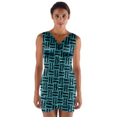 Woven1 Black Marble & Blue Green Water (r) Wrap Front Bodycon Dress by trendistuff