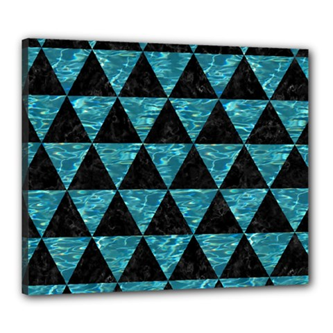 Triangle3 Black Marble & Blue Green Water Canvas 24  X 20  (stretched) by trendistuff