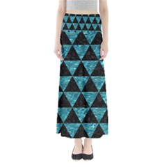 Triangle3 Black Marble & Blue Green Water Full Length Maxi Skirt by trendistuff