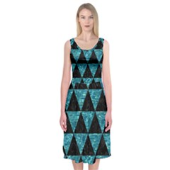 Triangle3 Black Marble & Blue Green Water Midi Sleeveless Dress by trendistuff