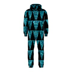 Triangle2 Black Marble & Blue Green Water Hooded Jumpsuit (kids) by trendistuff