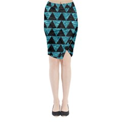 Triangle2 Black Marble & Blue Green Water Midi Wrap Pencil Skirt by trendistuff