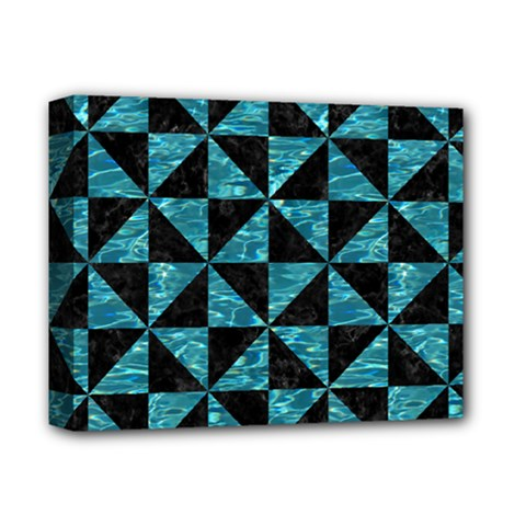 Triangle1 Black Marble & Blue Green Water Deluxe Canvas 14  X 11  (stretched) by trendistuff