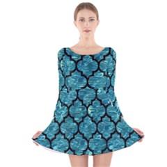 Tile1 Black Marble & Blue Green Water (r) Long Sleeve Velvet Skater Dress by trendistuff