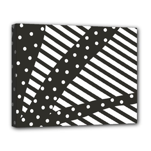Ambiguous Stripes Line Polka Dots Black Canvas 14  X 11  by Mariart