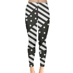 Ambiguous Stripes Line Polka Dots Black Leggings  by Mariart