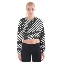 Ambiguous Stripes Line Polka Dots Black Cropped Sweatshirt