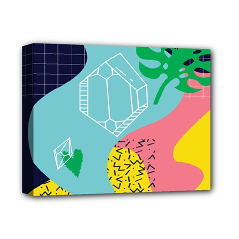 Behance Feelings Beauty Waves Blue Yellow Pink Green Leaf Deluxe Canvas 14  X 11  by Mariart