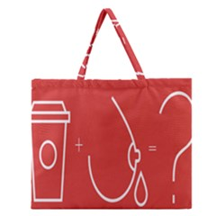 Caffeine And Breastfeeding Coffee Nursing Red Sign Zipper Large Tote Bag by Mariart