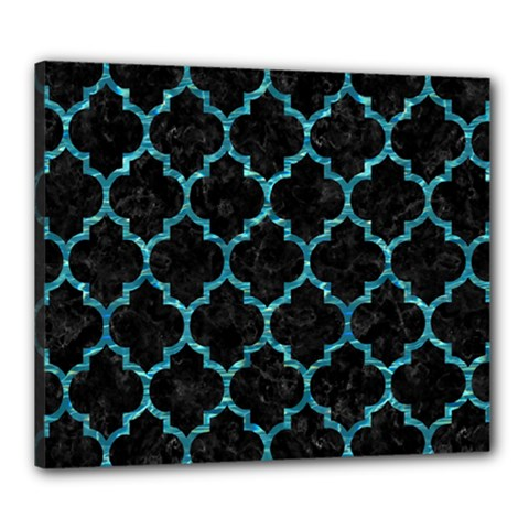 Tile1 Black Marble & Blue Green Water Canvas 24  X 20  (stretched) by trendistuff