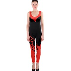 Broken Heart Tease Black Red Onepiece Catsuit by Mariart
