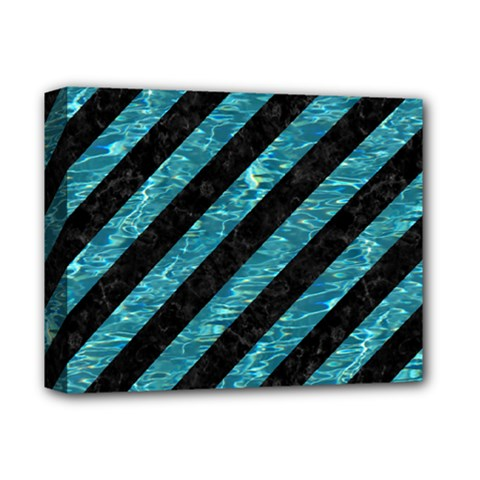 Stripes3 Black Marble & Blue Green Water Deluxe Canvas 14  X 11  (stretched) by trendistuff