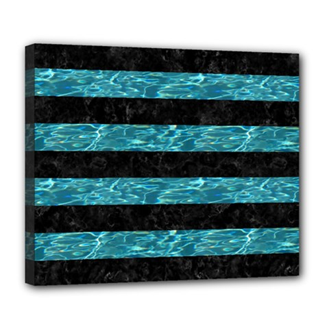 Stripes2 Black Marble & Blue Green Water Deluxe Canvas 24  X 20  (stretched) by trendistuff