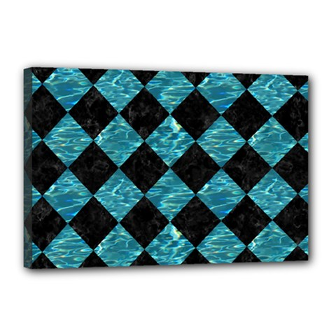 Square2 Black Marble & Blue Green Water Canvas 18  X 12  (stretched) by trendistuff