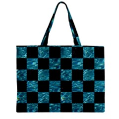 Square1 Black Marble & Blue Green Water Zipper Mini Tote Bag by trendistuff