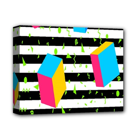 Cube Line Polka Dots Horizontal Triangle Pink Yellow Blue Green Black Flag Deluxe Canvas 14  X 11  by Mariart