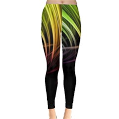 Colorful Abstract Fantasy Modern Green Gold Purple Light Black Line Leggings  by Mariart