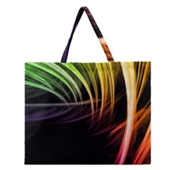Colorful Abstract Fantasy Modern Green Gold Purple Light Black Line Zipper Large Tote Bag by Mariart