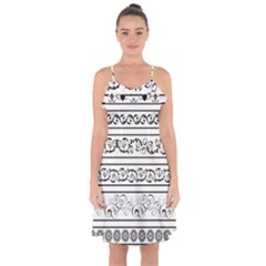 Black White Decorative Ornaments Ruffle Detail Chiffon Dress by Mariart