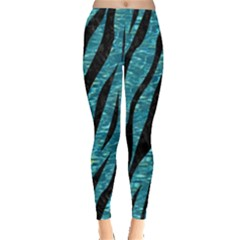 Skin3 Black Marble & Blue Green Water (r) Leggings  by trendistuff