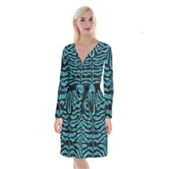 SKN2 BK-MRBL WATR1 (R) Long Sleeve Velvet Front Wrap Dress