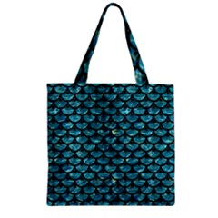 Scales3 Black Marble & Blue Green Water (r) Zipper Grocery Tote Bag by trendistuff