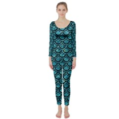 Scales2 Black Marble & Blue Green Water (r) Long Sleeve Catsuit by trendistuff