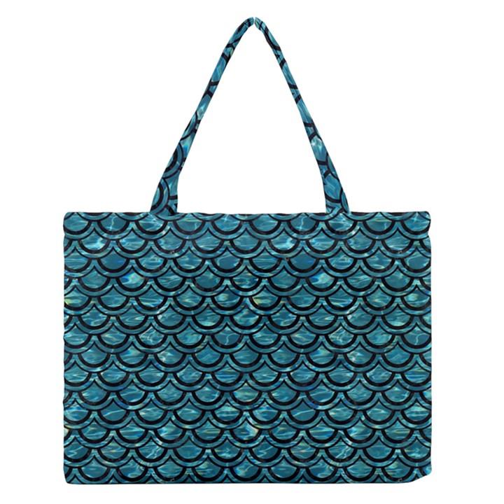 SCALES2 BLACK MARBLE & BLUE-GREEN WATER (R) Medium Zipper Tote Bag
