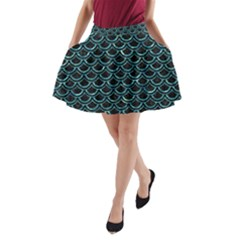 Scales2 Black Marble & Blue Green Water A Line Pocket Skirt by trendistuff
