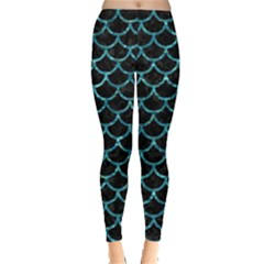 Scales1 Black Marble & Blue Green Water Leggings  by trendistuff