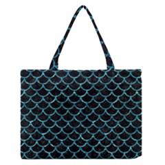 Scales1 Black Marble & Blue Green Water Medium Zipper Tote Bag by trendistuff