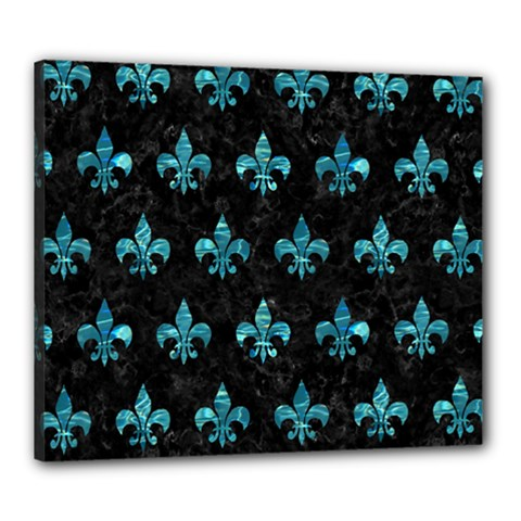 Royal1 Black Marble & Blue Green Water (r) Canvas 24  X 20  (stretched) by trendistuff