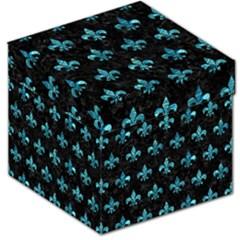 Royal1 Black Marble & Blue Green Water (r) Storage Stool 12  by trendistuff