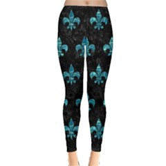 Royal1 Black Marble & Blue Green Water (r) Leggings  by trendistuff