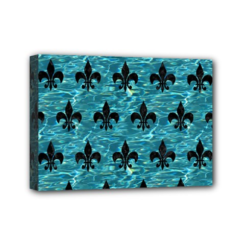 Royal1 Black Marble & Blue Green Water Mini Canvas 7  X 5  (stretched) by trendistuff