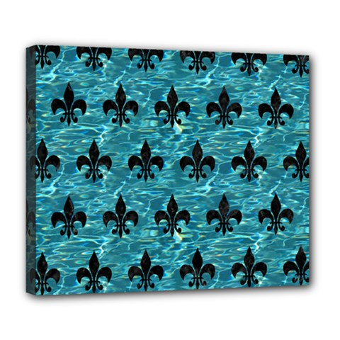Royal1 Black Marble & Blue Green Water Deluxe Canvas 24  X 20  (stretched) by trendistuff