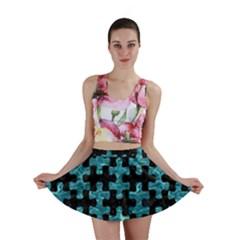 Puzzle1 Black Marble & Blue Green Water Mini Skirt by trendistuff