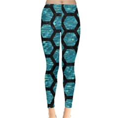 Hexagon2 Black Marble & Blue Green Water (r) Leggings  by trendistuff