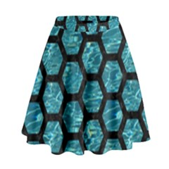 Hexagon2 Black Marble & Blue Green Water (r) High Waist Skirt by trendistuff