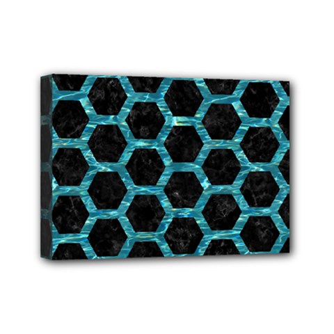 Hexagon2 Black Marble & Blue Green Water Mini Canvas 7  X 5  (stretched) by trendistuff
