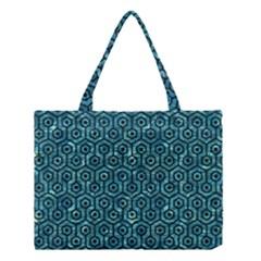 Hexagon1 Black Marble & Blue Green Water (r) Medium Tote Bag by trendistuff