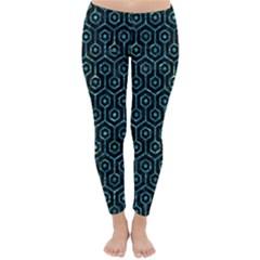 Hexagon1 Black Marble & Blue Green Water Classic Winter Leggings by trendistuff
