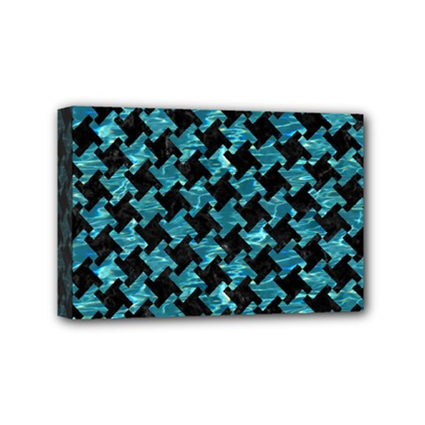 Houndstooth2 Black Marble & Blue Green Water Mini Canvas 6  X 4  (stretched) by trendistuff