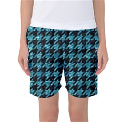 Houndstooth1 Black Marble & Blue Green Water Women s Basketball Shorts by trendistuff