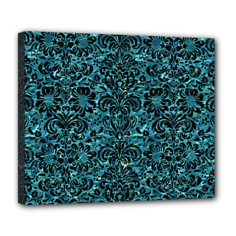 Damask2 Black Marble & Blue Green Water (r) Deluxe Canvas 24  X 20  (stretched) by trendistuff